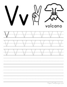 Capital letter V tracing worksheet