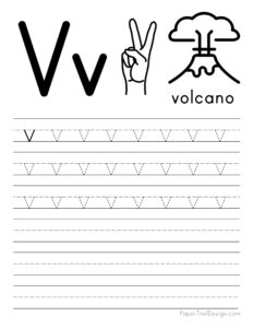 Lowercase letter V tracing worksheet