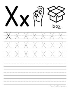 Capital letter X tracing worksheet