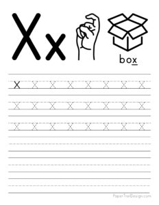 Lowercase letter X tracing worksheet