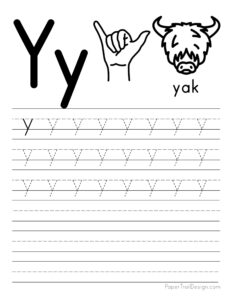 Lowercase letter Y tracing worksheet