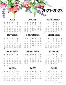 2021-2022 school year calendar floral design