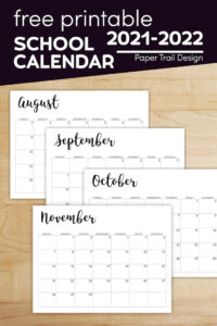 August, September, October, and November calendar pages 2021-2022