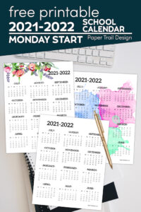 Monday start one page school calendars with text overlay-free printale 2021-2022 school calendar Monday start