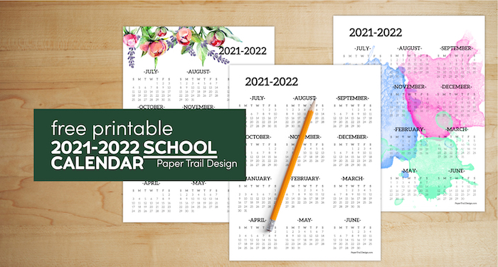 One page year at a glance school calendars for the 2021-2022 school year with pencil with text overlay-free printale 2021-2022 school calendar