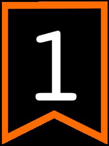 Number 1 chalkboard back to school banner flag with orange border