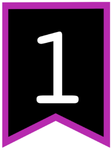 Number 1 chalkboard back to school banner flag with purple border