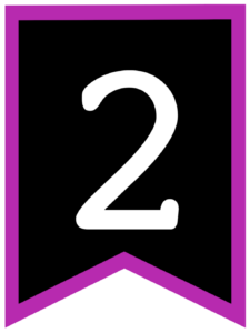Number 2 chalkboard back to school banner flag with purple border