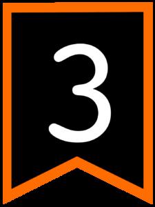 Number 3 chalkboard back to school banner flag with orange border
