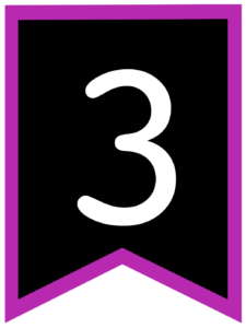 Number 3 chalkboard back to school banner flag with purple border