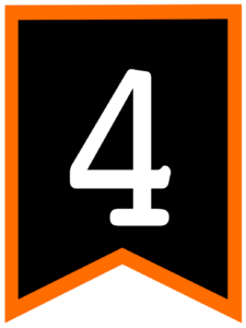 Number 4 chalkboard back to school banner flag with orange border