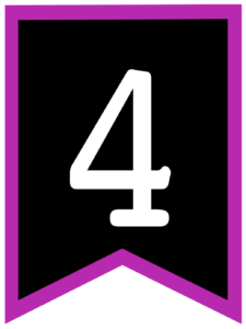 Number 4 chalkboard back to school banner flag with purple border