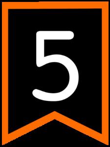 Number 5 chalkboard back to school banner flag with orange border