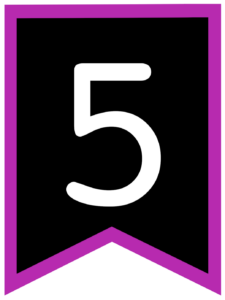 Number 5 chalkboard back to school banner flag with purple border