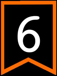 Number 6 chalkboard back to school banner flag with orange border