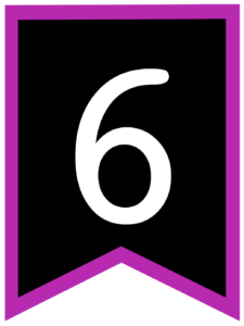 Number 6 chalkboard back to school banner flag with purple border