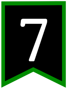 Number 7 chalkboard back to school banner flag with green border