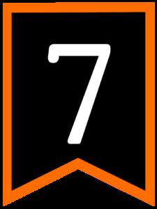 Number 7 chalkboard back to school banner flag with orange border