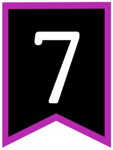 Number 7 chalkboard back to school banner flag with purple border