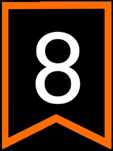 Number 8 chalkboard back to school banner flag with orange border