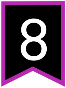 Number 8 chalkboard back to school banner flag with purple border