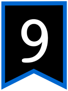 Number 9 chalkboard back to school banner flag with blue border