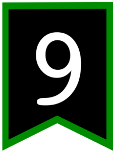 Number 9 chalkboard back to school banner flag with green border
