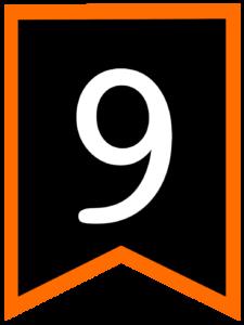 Number 9 chalkboard back to school banner flag with orange border