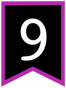 Number 9 chalkboard back to school banner flag with purple border