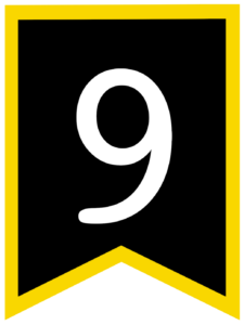 Number 9 chalkboard back to school banner flag with yellow border