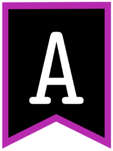Letter A chalkboard back to school banner flag with purple border