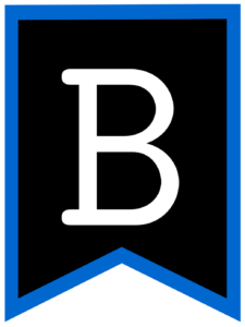 Letter B chalkboard back to school banner flag with blue border