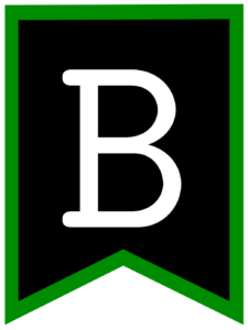 Letter B chalkboard back to school banner flag with green border