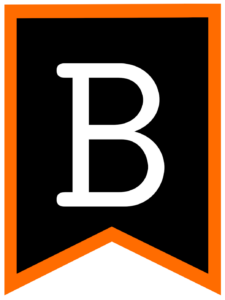 Letter B chalkboard back to school banner flag with orange border