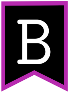 Letter B chalkboard back to school banner flag with purple border
