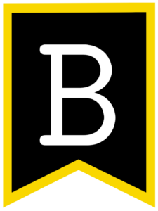 Letter B chalkboard back to school banner flag with yellow border