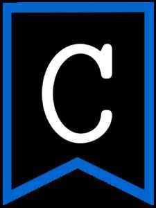 Letter C chalkboard back to school banner flag with blue border