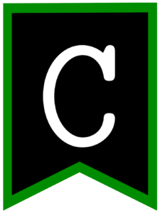 Letter C chalkboard back to school banner flag with green border