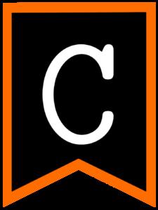Letter C chalkboard back to school banner flag with orange border