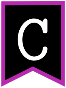 Letter C chalkboard back to school banner flag with purple border