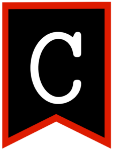 Letter C chalkboard back to school banner flag with red border