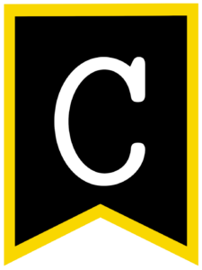 Letter C chalkboard back to school banner flag with yellow border