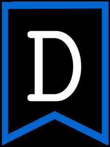 Letter D chalkboard back to school banner flag with blue border