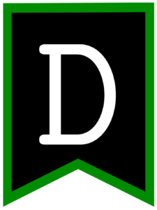 Letter D chalkboard back to school banner flag with green border