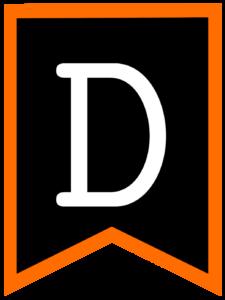 Letter D chalkboard back to school banner flag with orange border