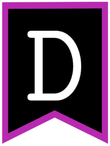 Letter D chalkboard back to school banner flag with purple border