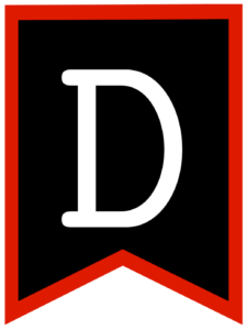 Letter D chalkboard back to school banner flag with red border