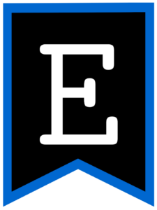 Letter E chalkboard back to school banner flag with blue border