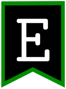 Letter E chalkboard back to school banner flag with green border