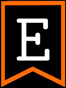 Letter E chalkboard back to school banner flag with orange border